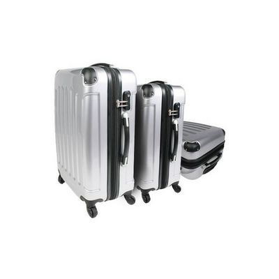 WHITE LABEL - Valise à roulettes-WHITE LABEL-Lot de 3 valises bagage gris