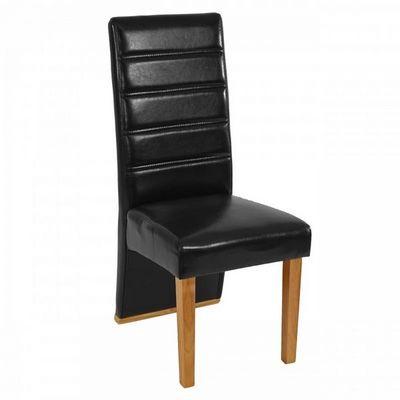 WHITE LABEL - Chaise-WHITE LABEL-Lot de 6 chaises de salle à manger similicuir noir