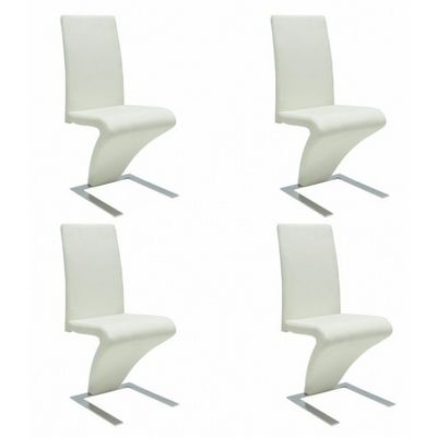 WHITE LABEL - Chaise-WHITE LABEL-4 Chaises de salle a manger blanches