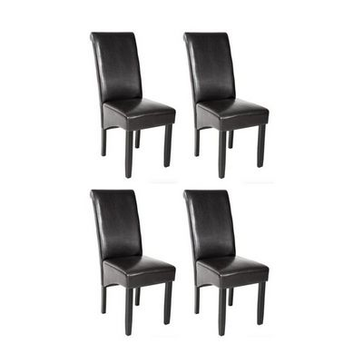 WHITE LABEL - Chaise-WHITE LABEL-4 chaises de salle � manger noir