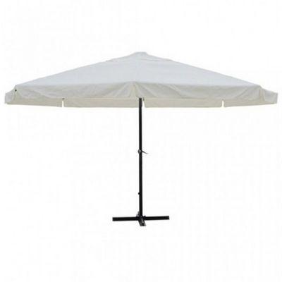 WHITE LABEL - Parasol télescopique-WHITE LABEL-Parasol jardin avec manivelle blanc Ø 5m