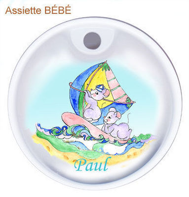 PORCELAINE CLAUDIE FRANEL - Assiette bébé-PORCELAINE CLAUDIE FRANEL-Les deux souries