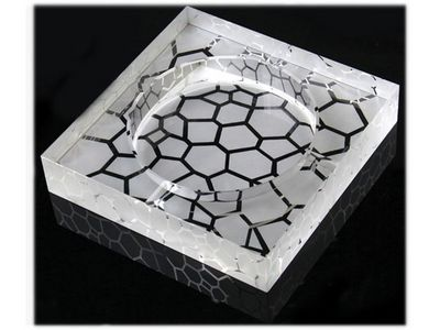 WHITE LABEL - Cendrier-WHITE LABEL-Cendrier carré en verre gravé galets accessoire fu