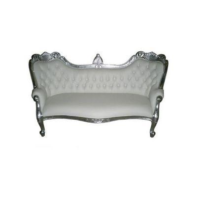 DECO PRIVE - Canapé 3 places-DECO PRIVE-Canapé méridienne baroque imitation cuir blanc et