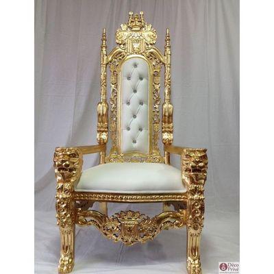 DECO PRIVE - Fauteuil-DECO PRIVE-Fauteuil trône tête de lion baroque de luxe modèle