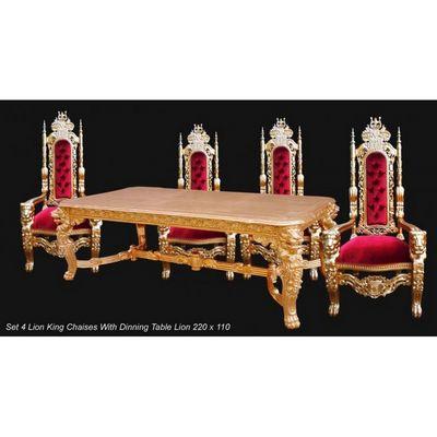 DECO PRIVE - Table de repas rectangulaire-DECO PRIVE-Ensemble baroque de luxe King table et fauteuils