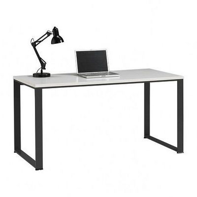 WHITE LABEL - Bureau-WHITE LABEL-Bureau NIXON blanc avec piétement anthracite