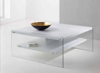 WHITE LABEL - Table basse rectangulaire-WHITE LABEL-Table basse BELLA  2 plateaux blanc avec piétement