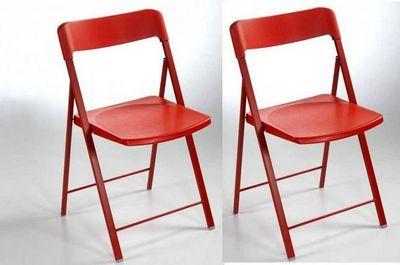 WHITE LABEL - Chaise pliante-WHITE LABEL-Lot de 2 chaises pliantes KULLY en plastique rouge