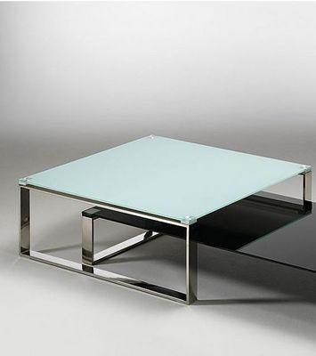 WHITE LABEL - Table basse carrée-WHITE LABEL-Table basse ZOE design en verre blanc