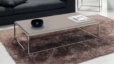 WHITE LABEL - Table basse rectangulaire-WHITE LABEL-Table basse MIMI rectangle taupe