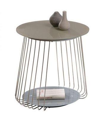 WHITE LABEL - Table d'appoint-WHITE LABEL-Table appoint design RIVOLI en verre satine cappuc
