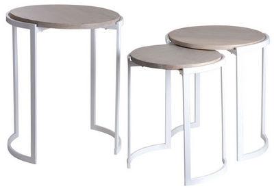 Aubry-Gaspard - Tables gigognes-Aubry-Gaspard-Sellettes en m�tal blanc et manguier (Lot de 3)