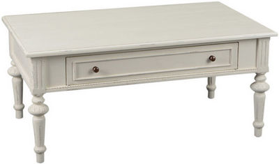Amadeus - Table basse rectangulaire-Amadeus-Table basse tiroir bois crème Perle