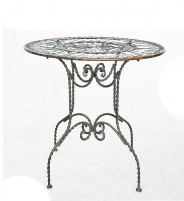 Demeure et Jardin - Table de jardin-Demeure et Jardin-Gueridon en fer forgé patine Vert De Gris
