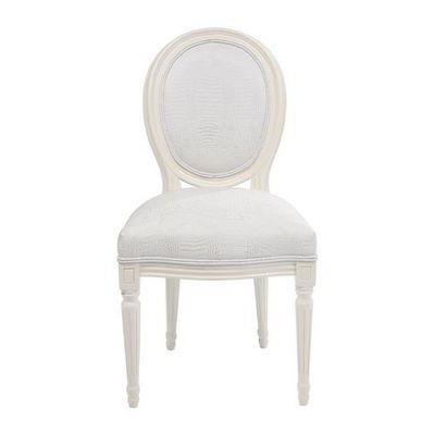 Kare Design - Chaise-Kare Design-Chaise baroque Louis Croco blanche