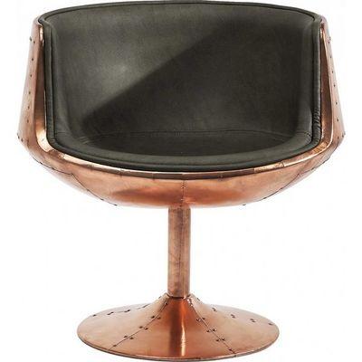 Kare Design - Fauteuil rotatif-Kare Design-Chaise pivotante Club 54 Brass