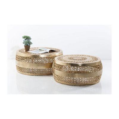 Kare Design - Table basse ronde-Kare Design-Tables basses Cleopatra Ornament dorées 2/set