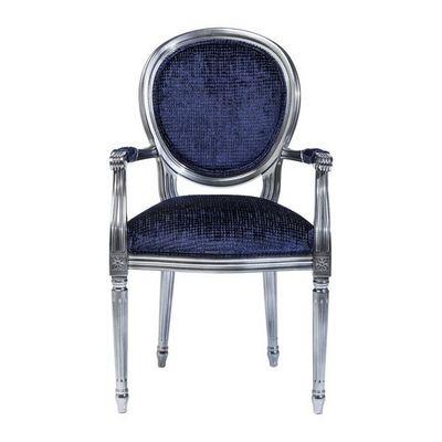 Kare Design - Fauteuil-Kare Design-Fauteuil Baroque Posh Silver bleu