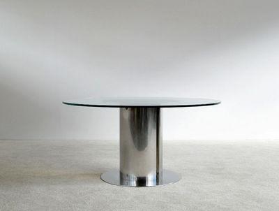 FURNITURE-LOVE.COM - Table de repas ronde-FURNITURE-LOVE.COM-Antonia Astori chrome steel dinning Cidonio table