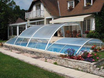 Abrideal - Abri de piscine bas amovible-Abrideal-PRIMO finition Transparence (version Romane)