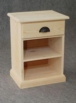 BARCLER - Table de chevet-BARCLER-Table de nuit bois brut 1 etagère 1 tiroir 40x55x3