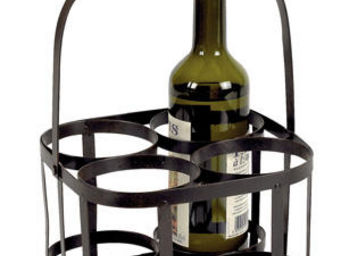 Aubry-Gaspard - panier 4 bouteilles en métal et bois - Wine Bottle Tote