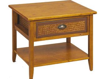 Aubry-Gaspard - table de nuit en pin et bambou - Bedside Table