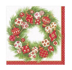 Paper Christmas napkin-CASPARI-Ornament Wreath