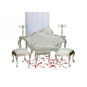 DECO PRIVE - canape baroque imitation cuir blanc et deco de mar - 2 Seater Sofa