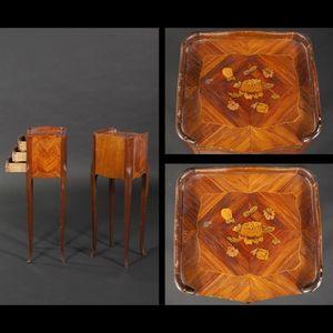 Expertissim - paire de tables de chevet de style louis xv - Bedside Table