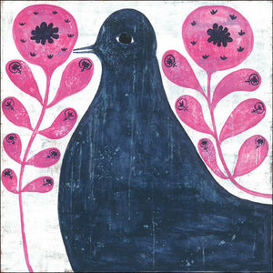 Sugarboo Designs - art print - black bird in flowers 36 x 36 - Children's Picture