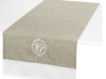 Antic Line Creations - chemin de table brodé vénus lin en coton 45x145cm - Dining Table Runner