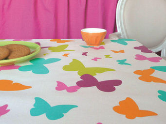 FLEUR DE SOLEIL - nappe enduite papillons multicolore 160x160 - Coated Tablecloth