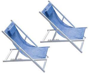 PROLOISIRS - chilienne linéa en aluminium et textilène jean's  - Deck Chair