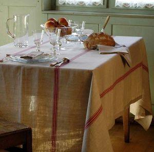 Arts Et Collections d'Alsace - nappe lin bis liteaux rouge - Rectangular Tablecloth