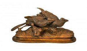 Demeure et Jardin - perdrix en bronze - Animal Sculpture