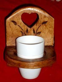 DECO CHALET MONTAGNE - porte gobelet / porte brosse a dents en bois style - Toothbrush Holder Glass