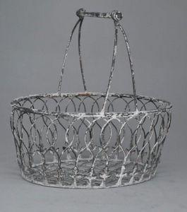Demeure et Jardin - panier fer forgé gris rouillé - Basket