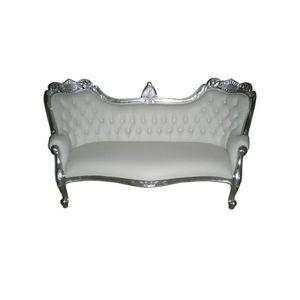 DECO PRIVE - canapé méridienne baroque imitation cuir blanc et - 3 Seater Sofa