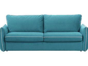 WHITE LABEL - canapé fixe linus 2 places en microfibre bleu azur - 2 Seater Sofa