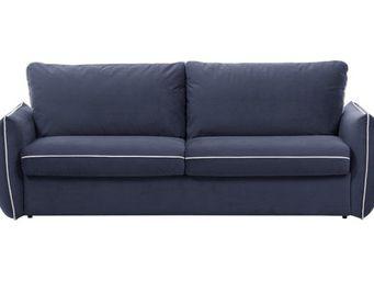 WHITE LABEL - canapé fixe linus 2-3 places bleu - 2 Seater Sofa