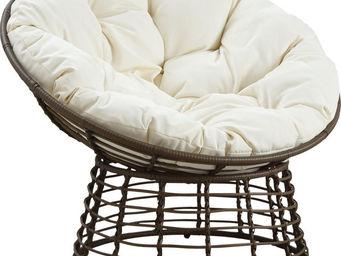 Aubry-Gaspard - fauteuil papasan en polyrésine et acier ecru & cho - Armchair
