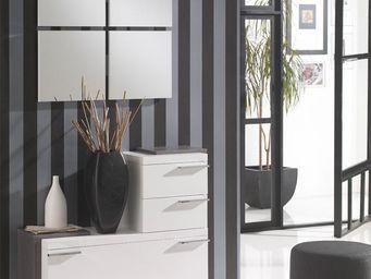 WHITE LABEL - meuble d\'entrée blanc/cendre + miroirs - roustin -
