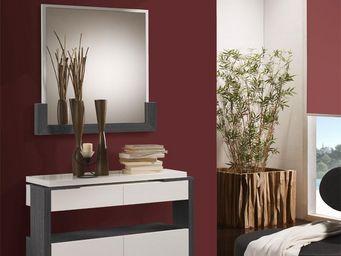 WHITE LABEL - meuble d\'entrée blanc/cendre + miroir - jungo - -