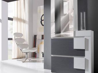 WHITE LABEL - meuble d\'entrée cendre/blanc + armoire - kamilia -