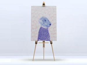 la Magie dans l'Image - toile mon petit chien fond rose - Digital Wall Coverings
