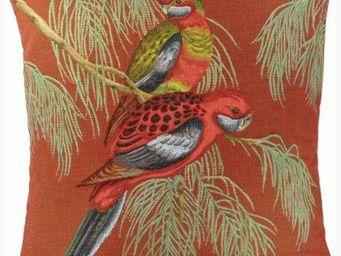 Art De Lys - 2 perroquets rouges - Square Cushion