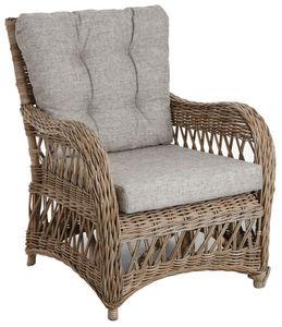 Aubry-Gaspard - fauteuil en poelet gris avec coussins - Armchair