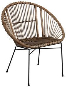 Aubry-Gaspard - fauteuil rond en rotin gris et métal - Armchair